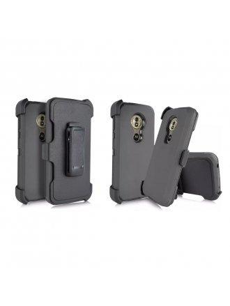 LG K40 - Heavy Duty Armor Case Belt Clip Holster - Black