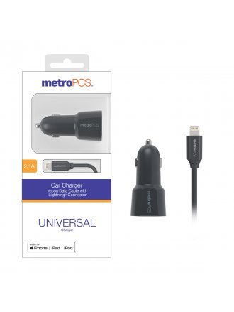 MetroPCS 2.1A Car Charger includes Data Cable with Lightning Connector - Gray