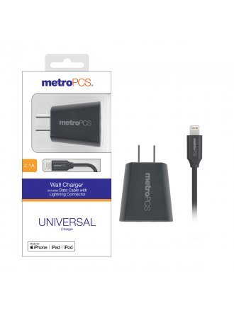 MetroPCS 2.1A Wall Charger includes Data Cable with Lightning Connector - Gray