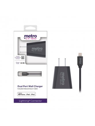 Metro by T-Mobile 3.1A Dual Port Wall Charger includes Data Cable with Lightning Connector - Gray
