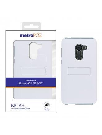 METRO PCS ALCATEL A30 FIERCE WHITE PC/GRAY TPU WITH KICKSTAND