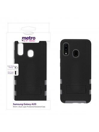 Metro by T-Mobile Samsung Galaxy A20 KICK+ Dual-Layer Protective Kickstand Case - Black/Gray