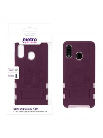 Metro by T-Mobile Samsung Galaxy A20 KICK+ Dual-Layer Protective Kickstand Case - Burgundy/Rose Gold