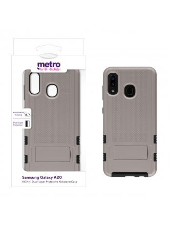 Metro by T-Mobile Samsung Galaxy A20 KICK+ Dual-Layer Protective Kickstand Case - Gold/Black