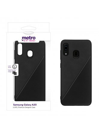 Metro by T-Mobile Samsung Galaxy A20 LUXE Premium Designer Case - Diagonal Leather