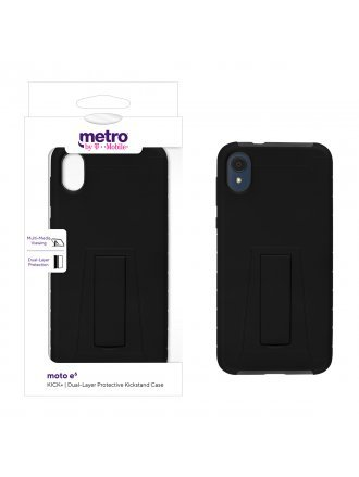 Metro by T-Mobile moto e6 KICK+ Dual-Layer Protective Kickstand Case - Black/Gray