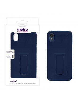 Metro by T-Mobile moto e6 KICK+ Dual-Layer Protective Kickstand Case - Blue/Blue