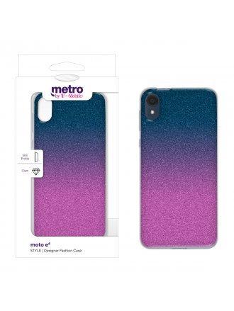 Metro by T-Mobile moto e6 STYLE Designer Fashion Case - Candy Glitter Ombre