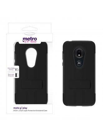 Metro by T-Mobile moto g7 play KICK+ Dual-Layer Protective Kickstand Case - Black/Gray