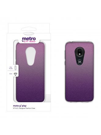 Metro by T-Mobile moto g7 play STYLE Designer Fashion Case - Berry Glitter Ombre