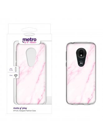 Metro by T-Mobile moto g7 play STYLE Designer Fashion Case - Pink Breezy Marble
