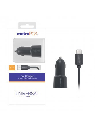 MetroPCS 2.1A Car Charger with USB-C Data Cable - Gray