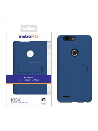 METRO PCS ZTE BLADE ZMAX METALIC BLUE PC/ GRAY TPU WITH KICKSTAND