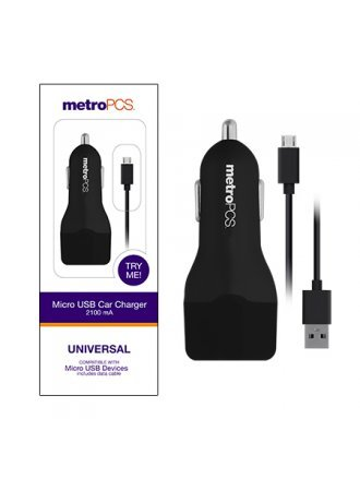 METRO PCS MICRO USB CAR CHARGER - 2.1 A BLACK / BLACK