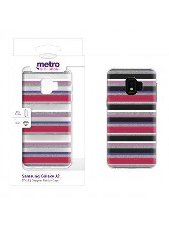 Metro by T-Mobile Samsung Galaxy J2 STYLE Designer Fashion Gel Case - Cool Stripes