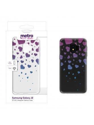 Metro by T-Mobile Samsung Galaxy J2 STYLE Designer Fashion Gel Case - Falling Hearts