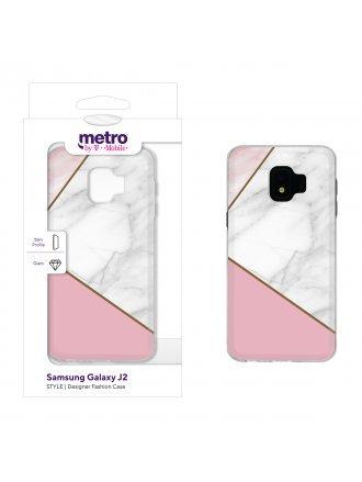 Metro by T-Mobile Samsung Galaxy J2 STYLE Designer Fashion Gel Case - Geometric Marble