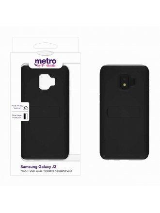 Metro by T-Mobile Samsung Galaxy J2 KICK+ Dual-Layer Protective Kickstand Case – Black/Gray
