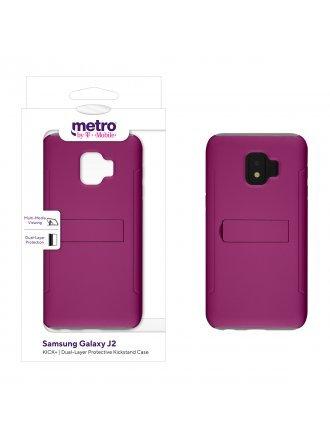 Metro by T-Mobile Samsung Galaxy J2 KICK+ Dual-Layer Protective Kickstand Case – Pink/Gray