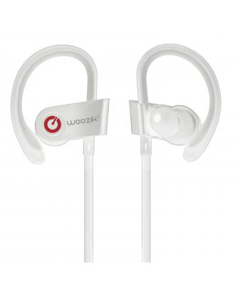 WOOZIK WIRELESS SPORT WITH ADJUSTABLE HANGERS 6.00 EARPHONES-WHITE