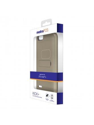 MetroPCS ZTE Avid 4 Metallic Gold PC/Clear TPU with Kickstand and Screen Protector