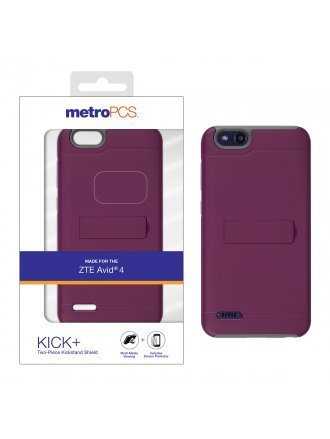 MetroPCS ZTE Avid 4 Metallic Pink PC/Gray TPU with Kickstand and Screen Protector