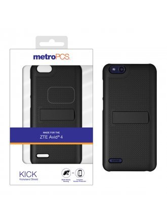 MetroPCS ZTE Avid 4 Black One Piece Shield with Kickstand and Screen Protector