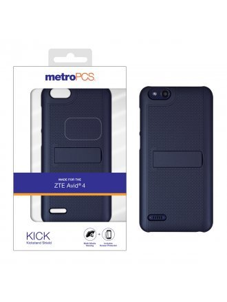 MetroPCS ZTE Avid 4 Metallic Blue One Piece Shield with Kickstand and Screen Protector