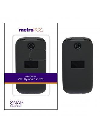 METRO PCS ZTE CYMBAL Z-320 BLACK TWO PIECE SHIELD