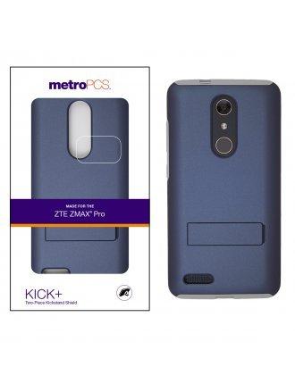 METRO PCS ZTE MAX PRO BLUE PC / GRAY SILICONE WITH KICKSTAND