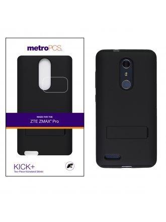 METRO PCS ZTE MAX PRO BLACK PC/BLACK SILICONE WITH KICKSTAND