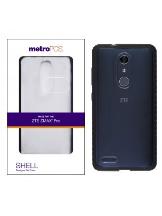 METRO PCS ZTE MAX PRO CLEAR PC/ BLACK TPU DOUBLE INJECTED CASE