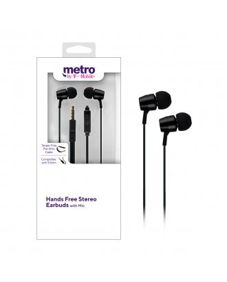 Metro by T-Mobile Hands Free Stereo Earbuds with Mic - Black