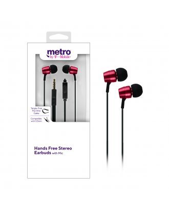 Metro by T-Mobile Hands Free Stereo Earbuds with Mic - Red