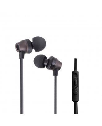 WOOZIK B950 METAL EARPHONE WITH MIC VOLUME - BLACK