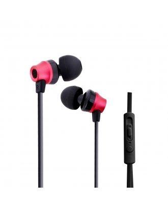 WOOZIK B950 METAL EARPHONE WITH MIC VOLUME - RED