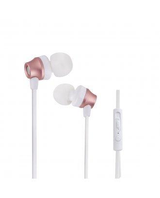 WOOZIK B950 METAL EARPHONE WITH MIC VOLUME - ROSE GOLD