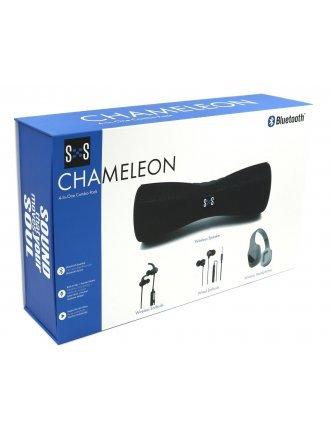 CHAMELEON 4 in 1 COMBO PACK W/ WIRELESS SPEAKER, WIRELESS EARBUDS, WIRED EARBUDS, AND WIRELESS HEADPHONES