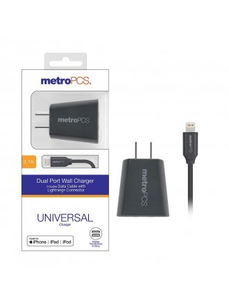 MetroPCS 3.1A Dual Port Wall Charger includes Data Cable with Lightning Connector - Gray