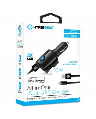 HYPERGEAR ALL IN ONE DUAL USB CHARGER WITH LIGHTING CABLE
