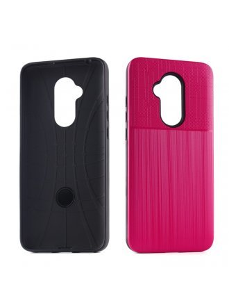 Samsung A21 Cover Plus Combo Case Brushed Metal Finish Red Black