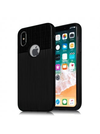 Apple iPhone 6/7/8 Combo Case Brushed Metal Finish Black Black