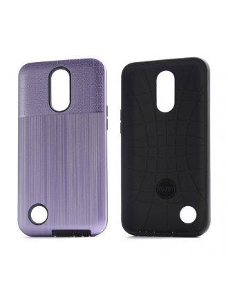 LG K51 Combo Case Brushed Metal Finish Purple Black