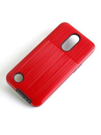 LG K51 Combo Case Brushed Metal Finish Red Black