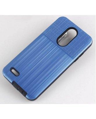 LG Stylo 6 Brushed Metal Plus Combo Case Finish Blue Black