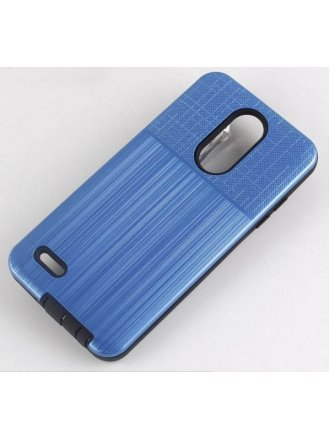 Samsung Galaxy A01 Cover Plus Combo Case Brushed Metal Finish Blue Black