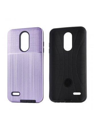 LG Stylo 6 Brushed Metal Plus Combo Case Finish Purple Black