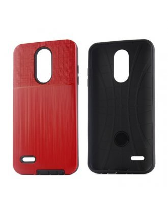 LG Aristo 3 Plus Cover Plus Combo Case Brushed Metal Finish Red Black