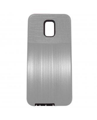 LG Aristo 3 Plus Cover Plus Combo Case Brushed Metal Finish Silver Black