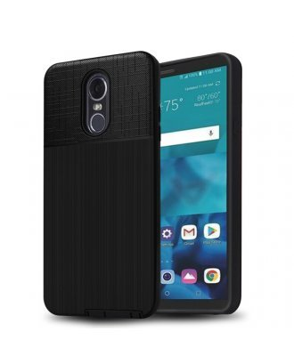 LG Aristo 3 Plus Cover Plus Combo Case Brushed Metal Finish Black Black